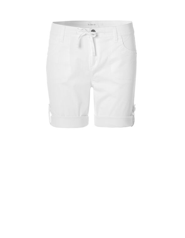 White Roll-Up Short, White, hi-res
