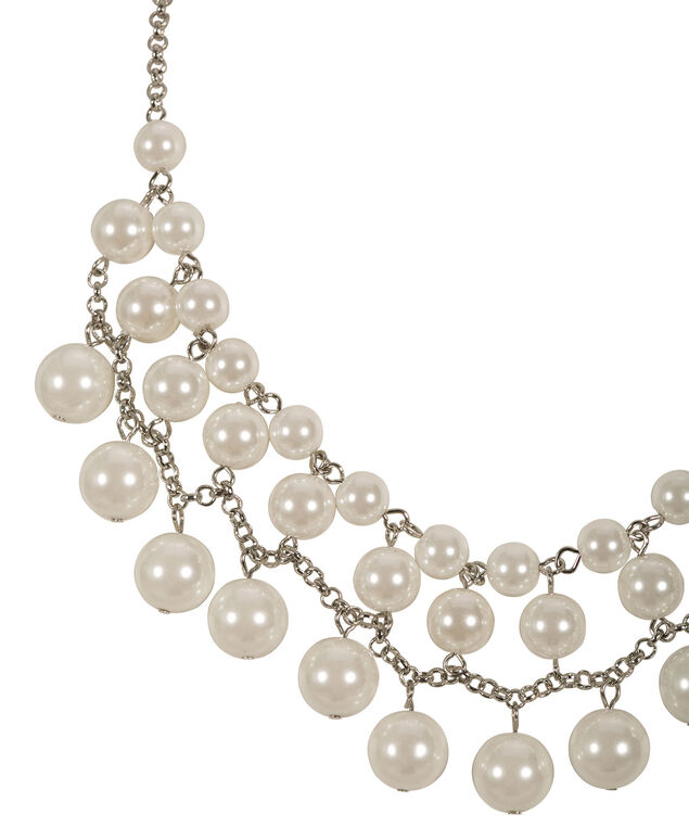 Pearl Statement Necklace, White/Rhodium, hi-res