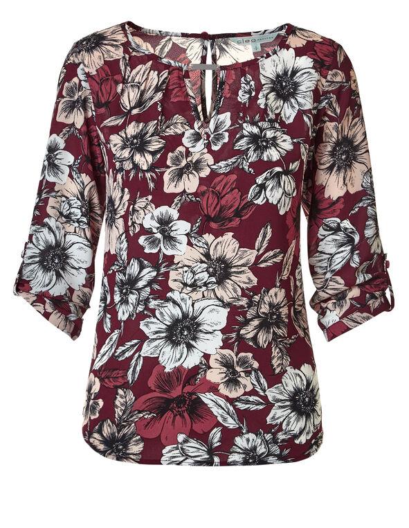 Claret Floral Keyhole Blouse, Claret/Dusty Pink, hi-res