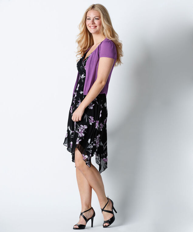 Sharkbite Floral Dress, Black/Purple, hi-res