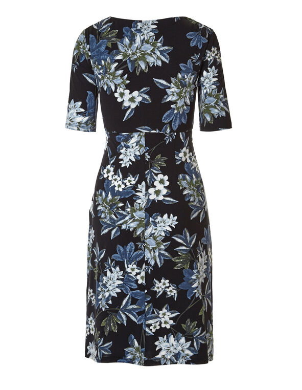 Black Floral Shift Dress, Black/Blue/Olive, hi-res