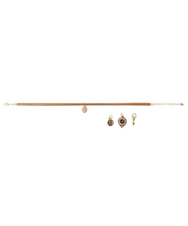 faux suede choker with interchangeable pendants, GOLD, hi-res