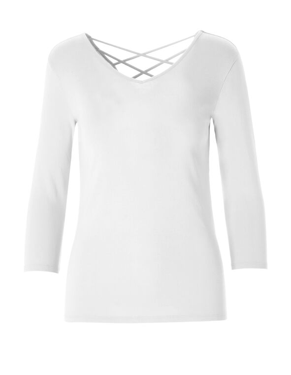 White V-Neck Crossover Tee, White, hi-res
