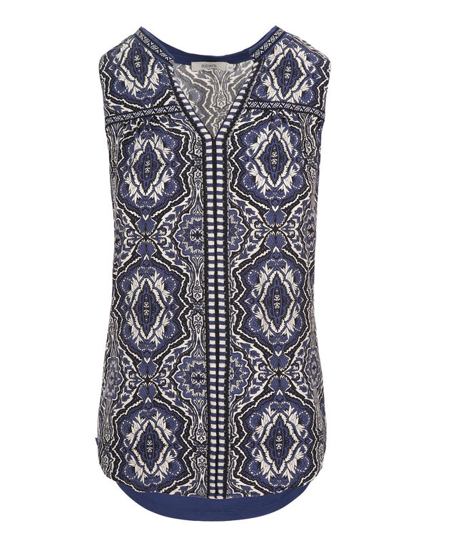 Embroidered Henley Tank, Deep Blue Print, hi-res
