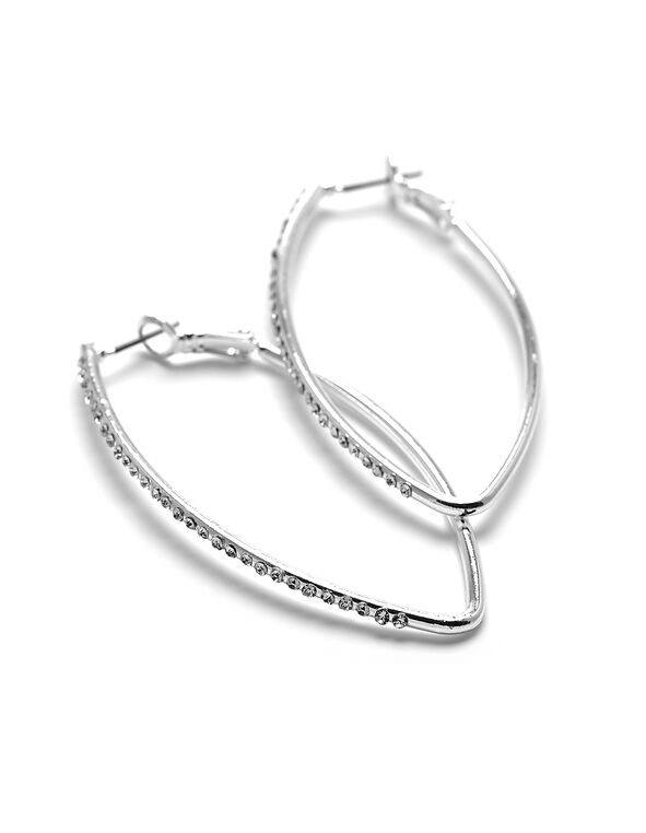 Crystal Elongated Hoop Earring, Silver, hi-res