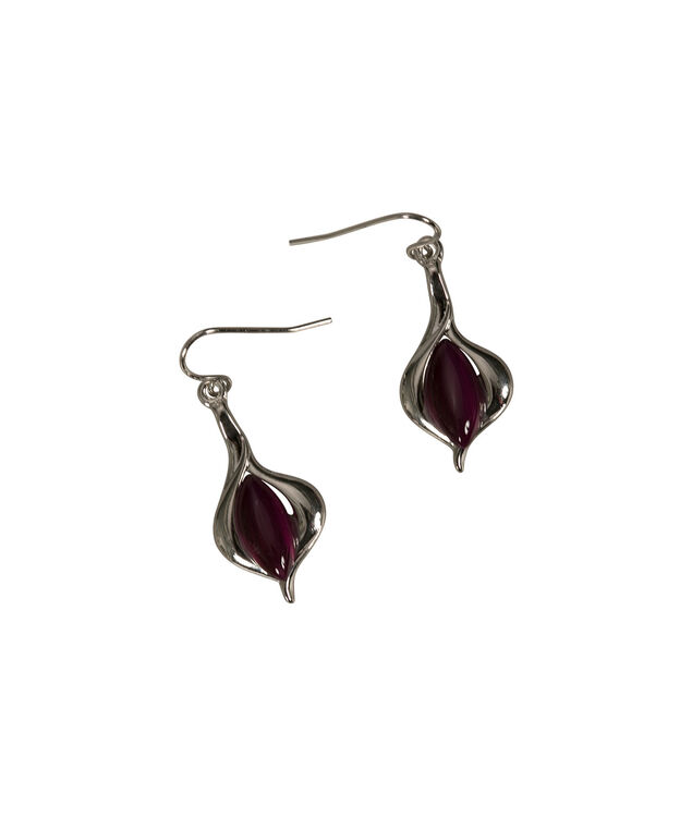 Tear Swirl Cateye Earring, Violet/Rhodium, hi-res