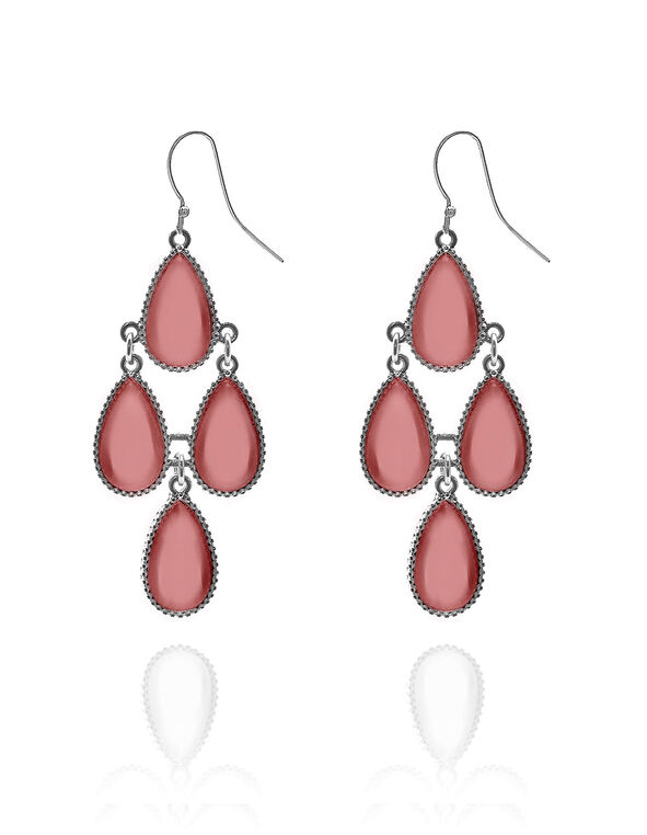 Coral Chandelier Earring, Silver/Coral, hi-res