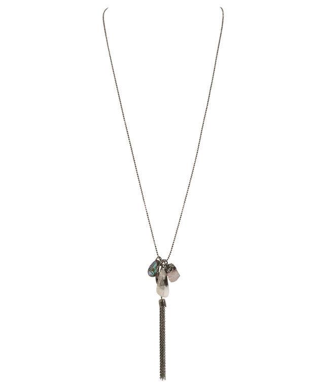 Stone Cluster Necklace, Pink Blush/Hematite, hi-res