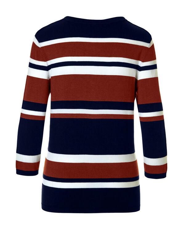 Navy Stripe Tie Up Sweater, Navy/Chili/Ivory, hi-res