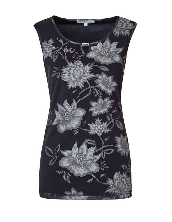 Floral Print Mesh Top, Navy/Stone/White, hi-res