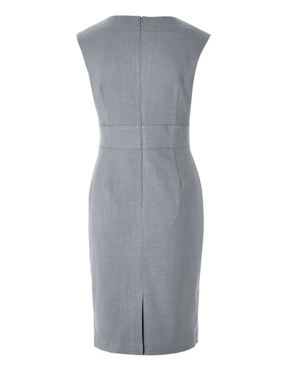 Birdseye Suiting Dress, Grey, hi-res
