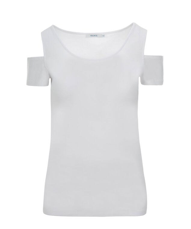 Cold Shoulder Tee, True White, hi-res