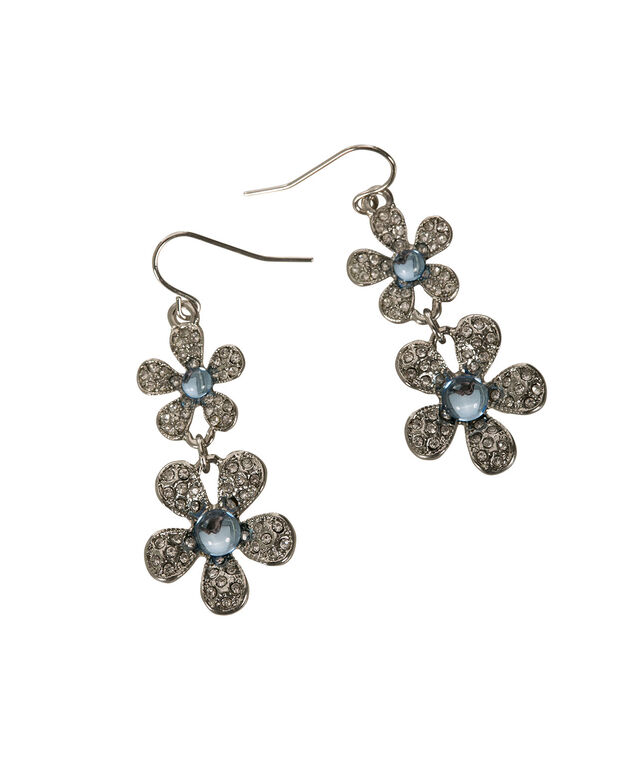 Flower Drop Earring, Light Blue/Rhodium, hi-res