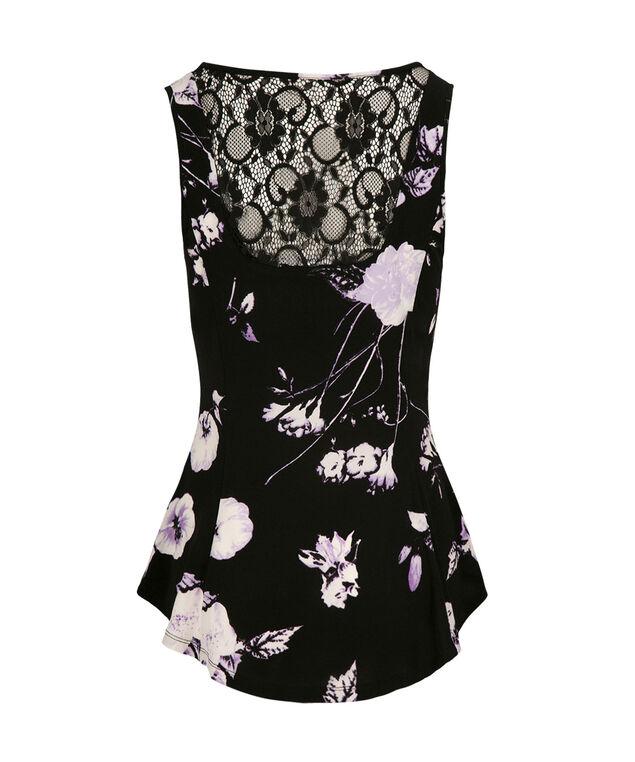 Floral Lace Trim Peplum, Violet Print, hi-res