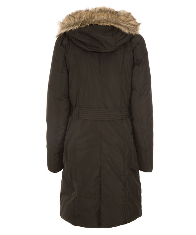 Fur Hood Puffer Coat, Black, hi-res