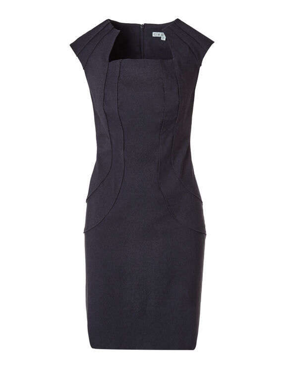 Denim Shift Dress, Navy, hi-res