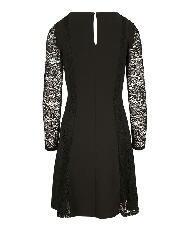 Lace Sleeve Seam Dress, BLACK, hi-res