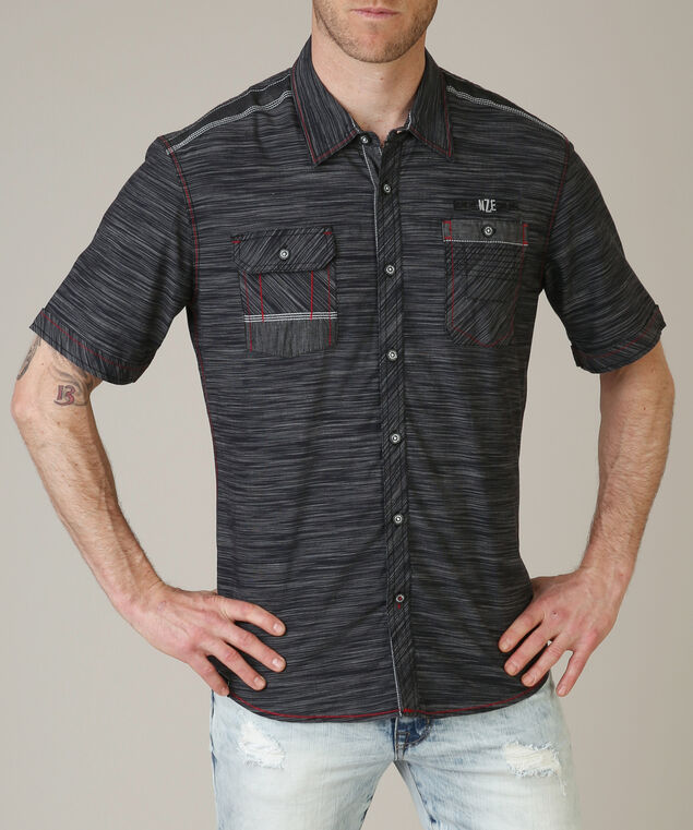 button front shirt - wb, BLACK, hi-res