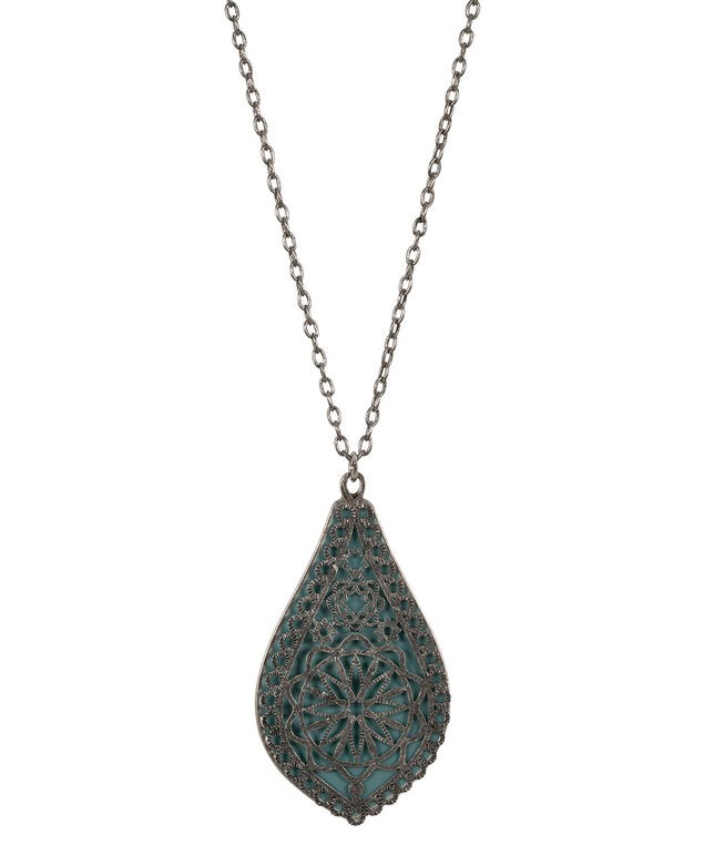 Cutout Epoxy Teardrop Necklace, Teal/Burnished Silver, hi-res