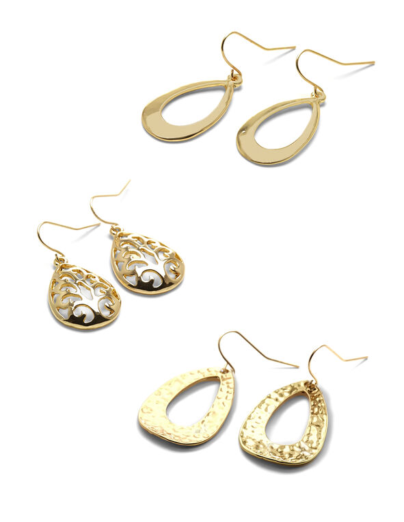 Gold Teardrop Earring Set, Gold, hi-res
