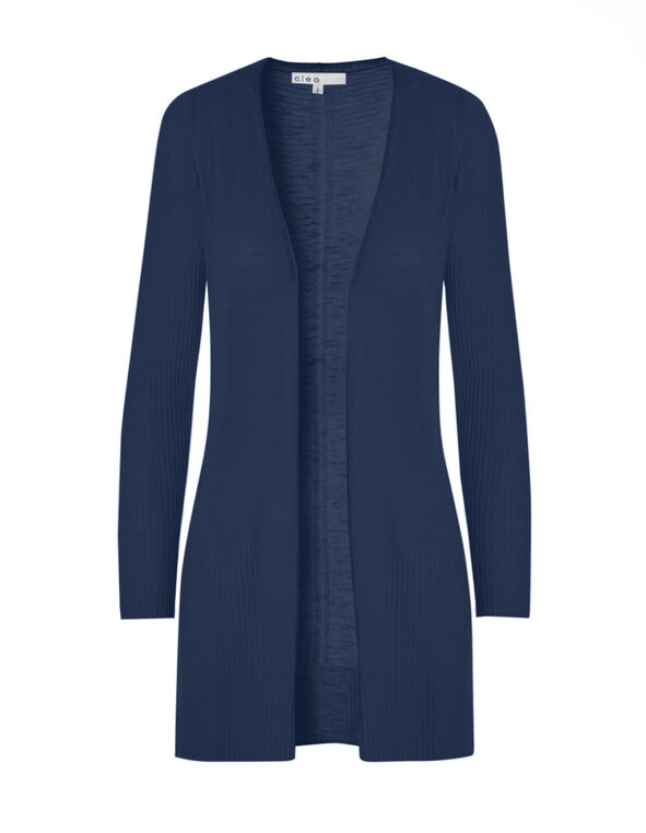 Petrol Blue Long Ribbed Cardigan, Petrol Blue, hi-res