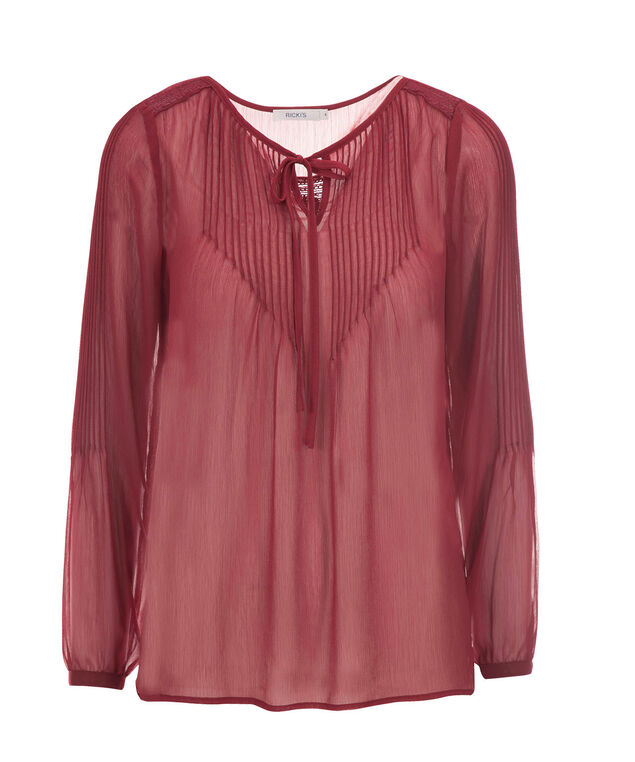 Long Sleeve Pintuck Blouse, Deep Red, hi-res