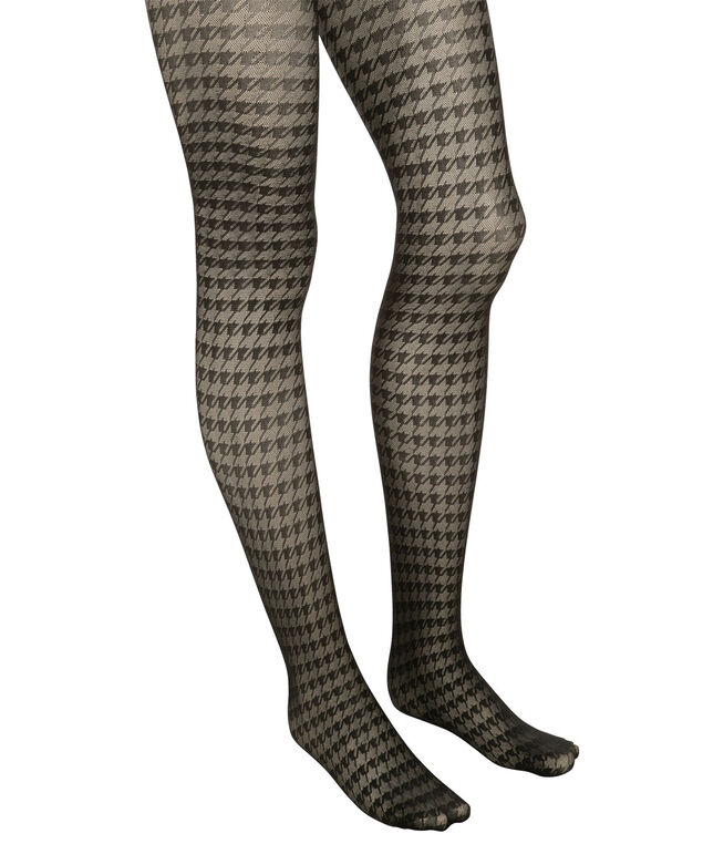 Houndstooth Tights, Black, hi-res
