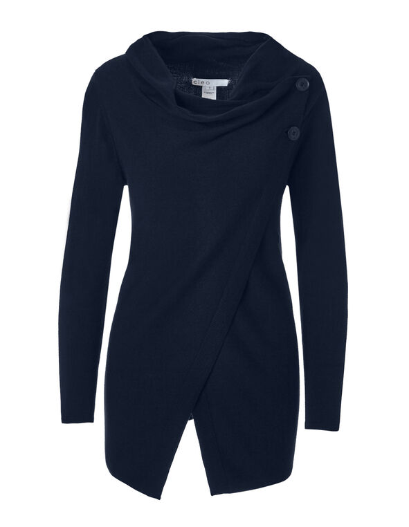 Navy Cowl Wrap Sweater, Navy, hi-res