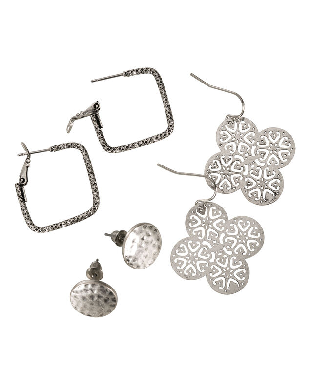 Filigree Earring Trio, Burnished Silver, hi-res