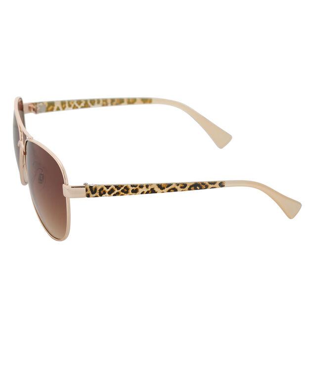 Animal Print Aviator Sunglasses, Gold, hi-res