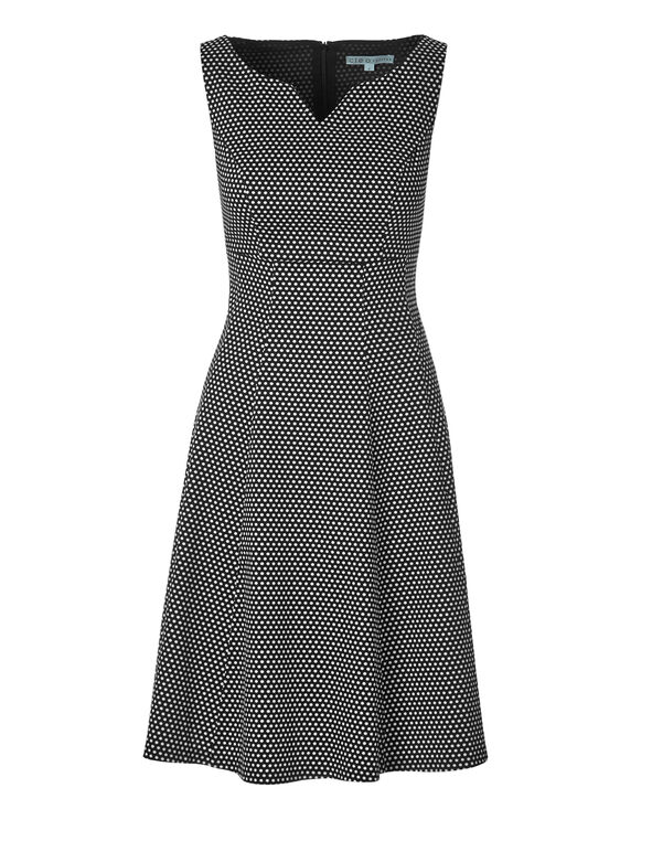 Polkadot Fit and Flare Dress, Black/White, hi-res