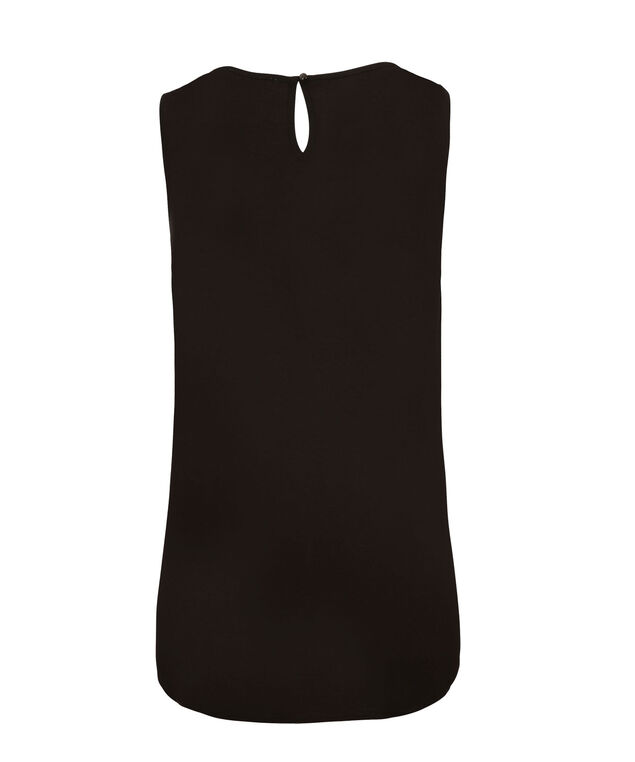 Pintuck Front Shell Top, Black, hi-res