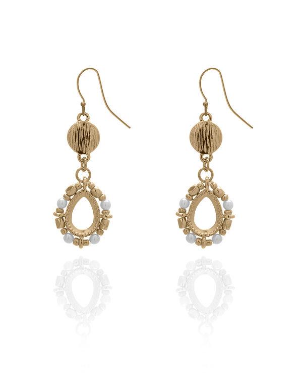 Gold Pearl Teardrop Earring, Gold/Pearl, hi-res