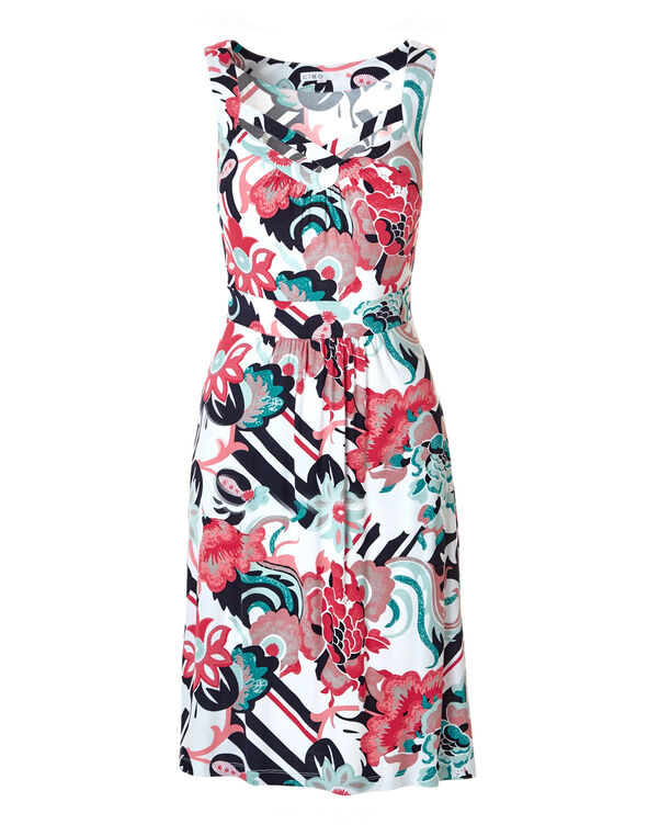 Floral Print Crossover Dress, Coral/Turquoise/Mint, hi-res