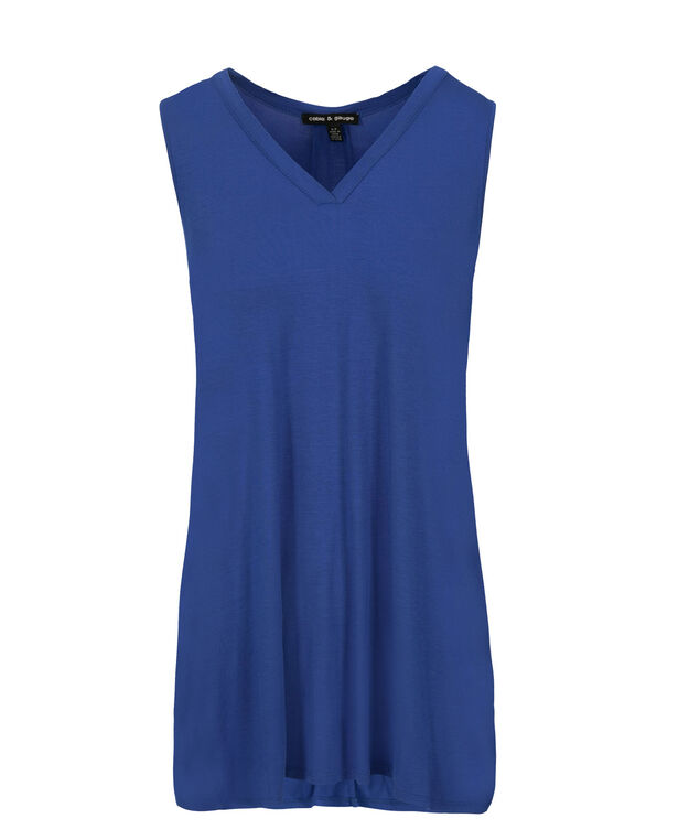 Button Cinched Back Tank, Blue, hi-res
