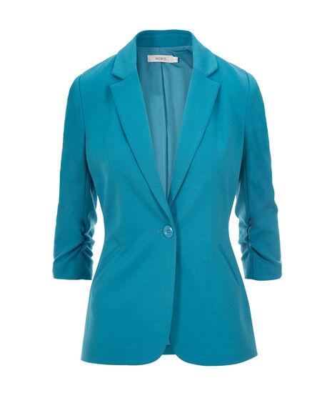 Knit Boyfriend Blazer, Turquoise, hi-res