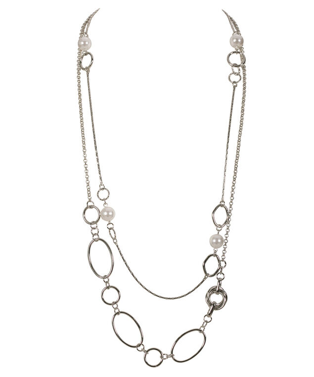 Stationed Pearl Layered Necklace, White/Rhodium, hi-res