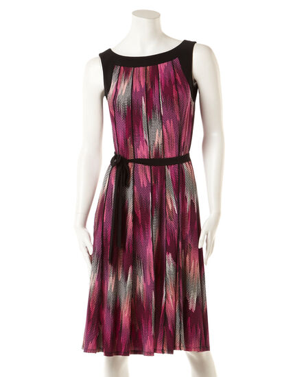Gored Fit and Flare Dress with Belt, Pink/Magenta/Black, hi-res