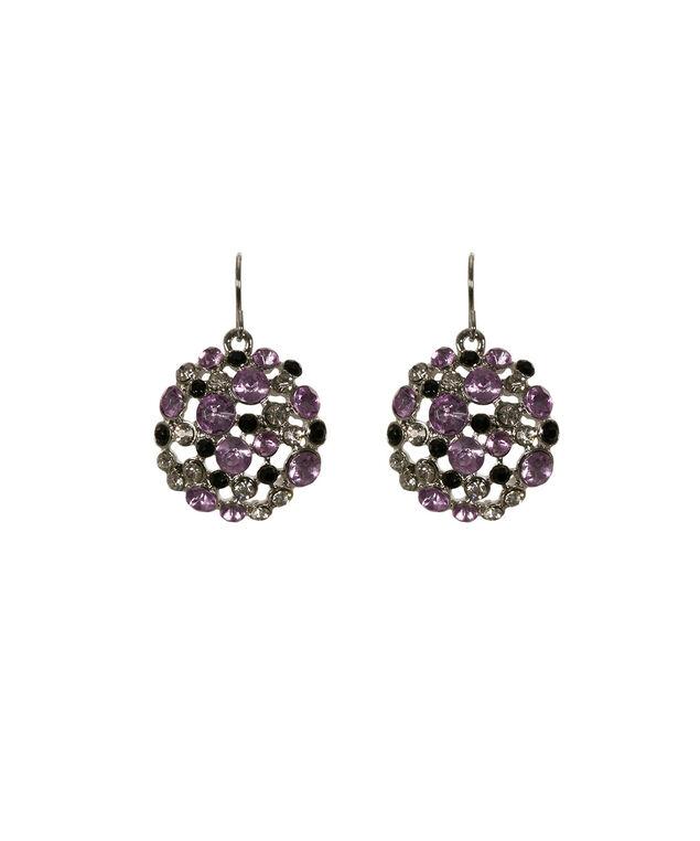 Circle Cluster Earring, Purple/Rhodium, hi-res