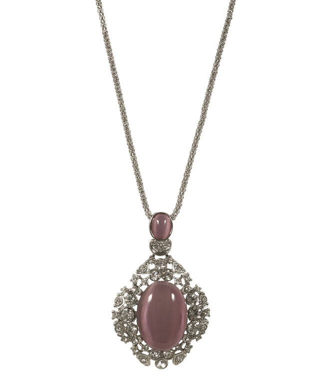 Cateye Crystal Pendant Necklace, Pink/Rhodium, hi-res