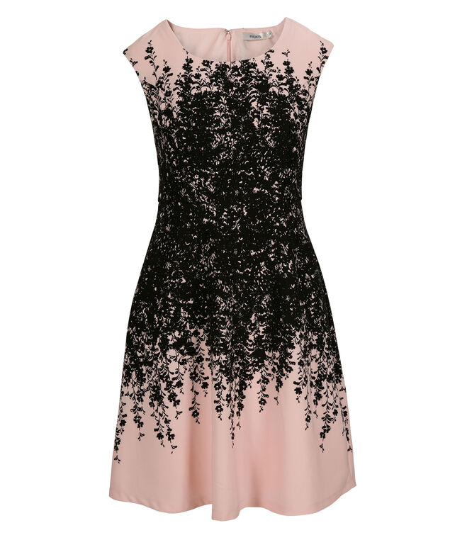 Placement Print Fit & Flare Dress, Black/Pink Print, hi-res