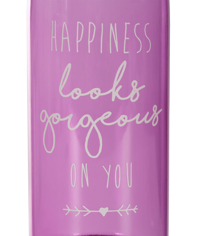 Happiness Water Bottle, Purple/Grey, hi-res