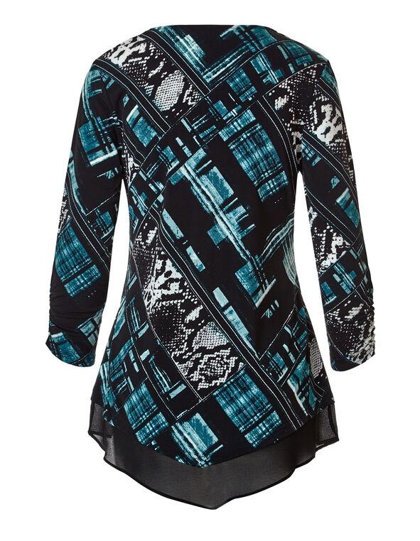 Turquoise Chiffon Hem Tunic Top, Black/Ivory/Turquoise, hi-res