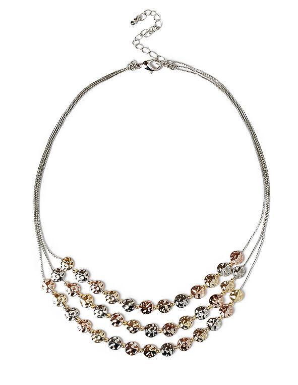 Mixed Textured Mini Disc Necklace, Rhodium/Gold/Rose Gold, hi-res