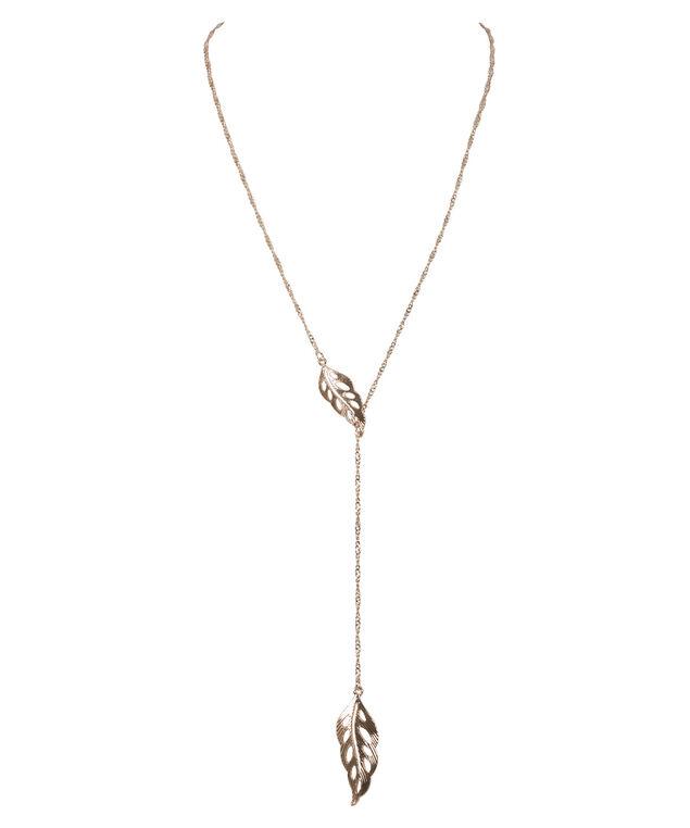 Adjustable Leaf Necklace, Rose Gold, hi-res