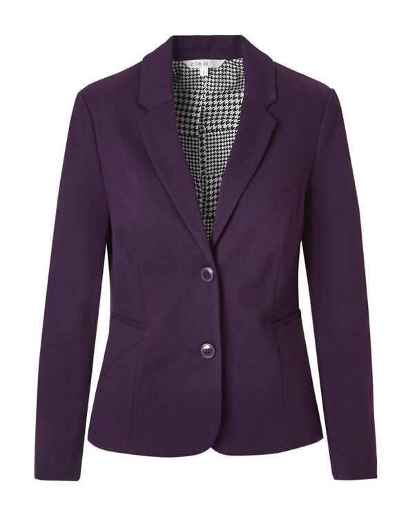Deep Plum Herringbone Blazer, Deep Plum, hi-res