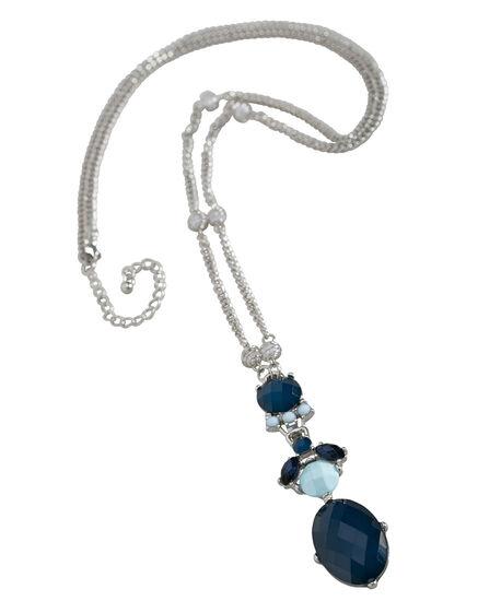 Teal Gem Cluster Necklace, Fresh Teal/Deep Teal, hi-res
