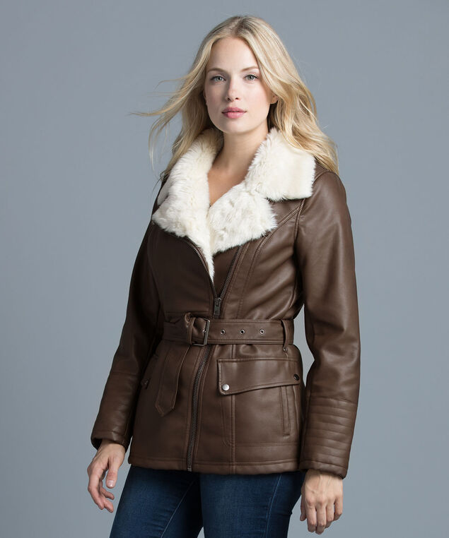 Faux Collar Belted Coat, Brown, hi-res