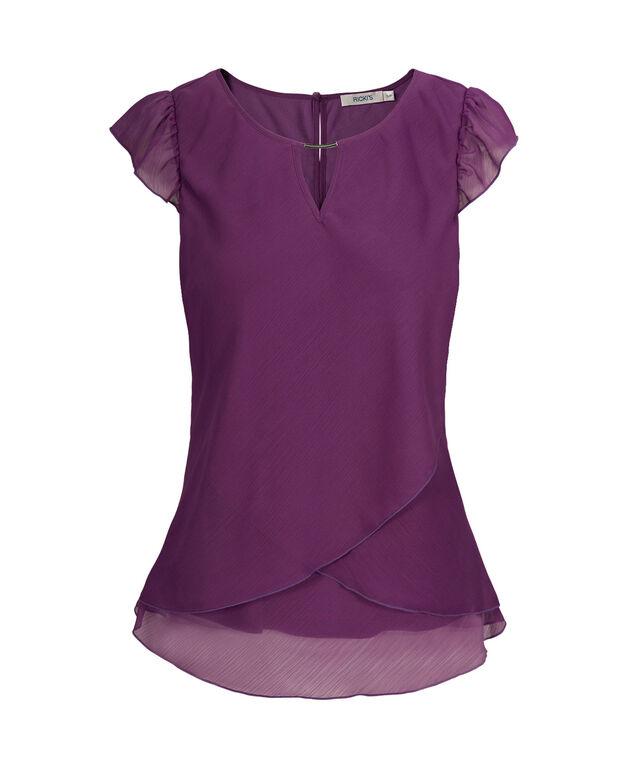 Tulip Hem Flutter Sleeve, Purple, hi-res