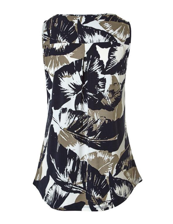 Print Zipper Front Top, Navy/Ivory/Nude, hi-res